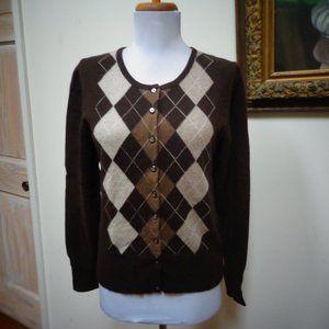 APT. 9 Argyle 100% Cashmere Cardigan Size S
